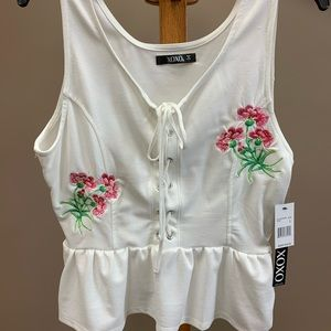 Brand new, never worn embroidered tank